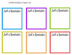 Reminder Template by Just Sweet And Simple May 2011