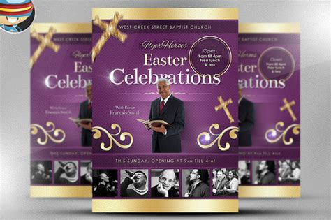 Easter Celebrations Flyer Template Flyer Templates On Creative Market Christian Flyer Templates Free