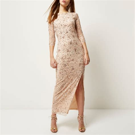 river island light pink bead embellished maxi dress in
