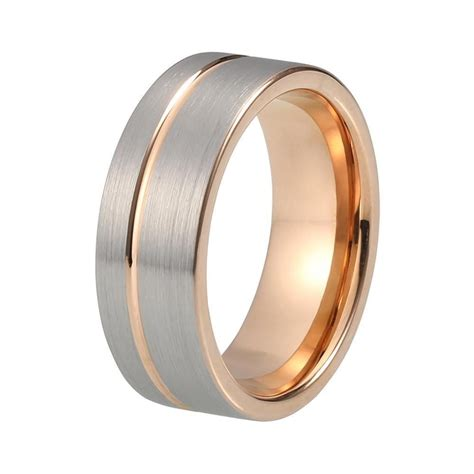 brushed gunmetal mens wedding band rose gold in 2019