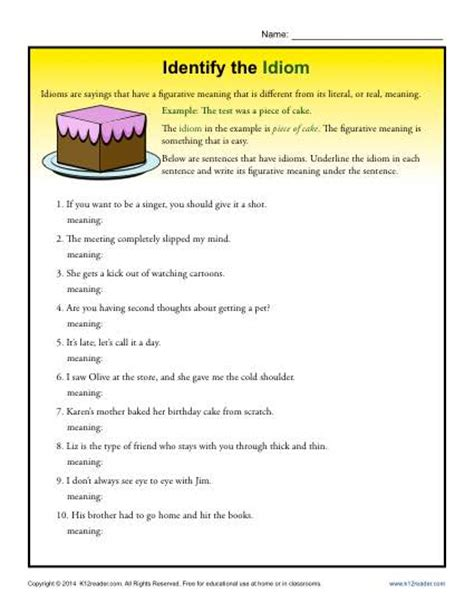 idiom worksheets identify the idioms 4th and 5th grade worksheets