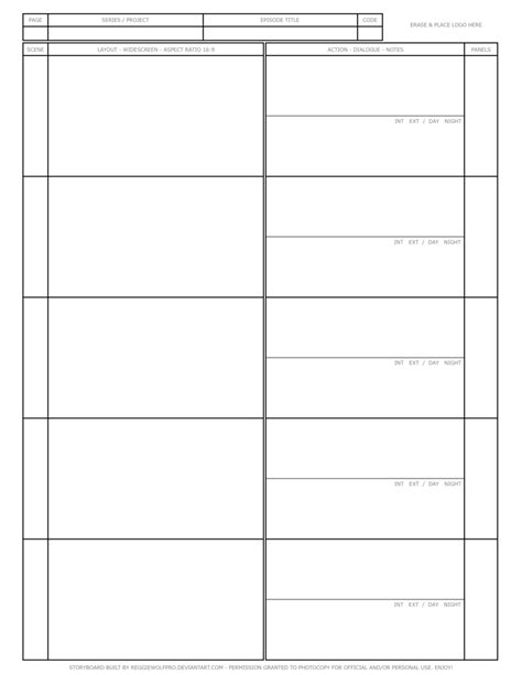 free storyboard template by reggiewolfpro on deviantart