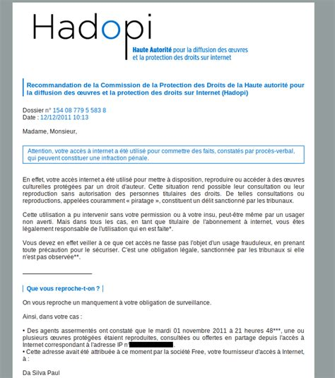 Lettre De Recommandation Hadopi Lettre De Recommandation Hadopi Document