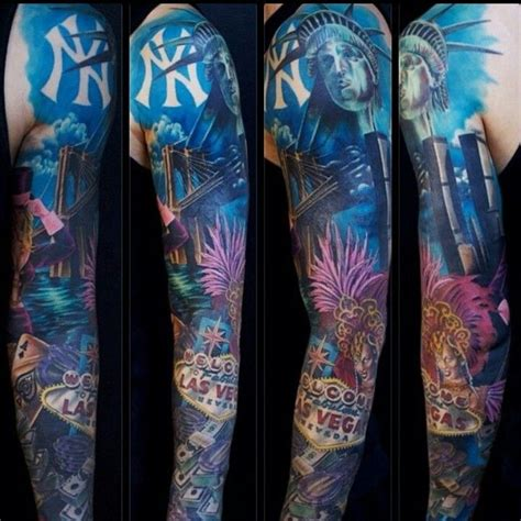 new york themed tattoo designs ny las vegas sleeve