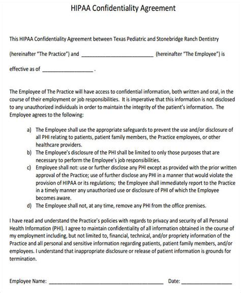 hipaa confidentiality agreement template hipaa confidentiality agreement template 28 images 13