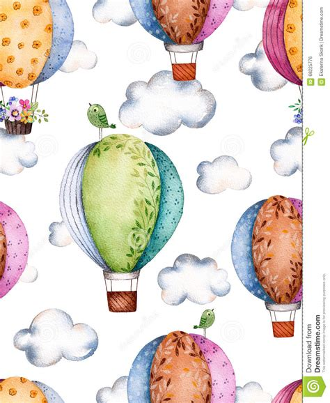 watercolor pattern with air balloons and clouds stock watercolor pattern with air balloons and clouds in pastel