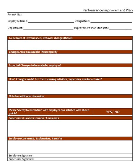Download Performance Improvement Plan Templates Excel And Word Performance Improvement Plan Template Word