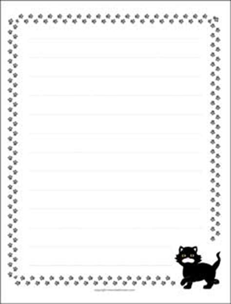 printable cat stationery border paper with lines