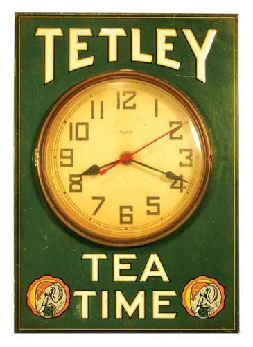 tetley tea time tin clock