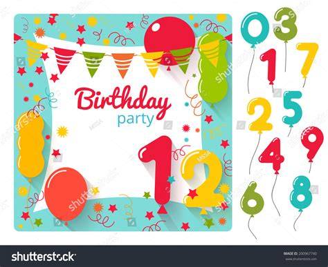 balloon card template vector birthday invitation card design stock vector