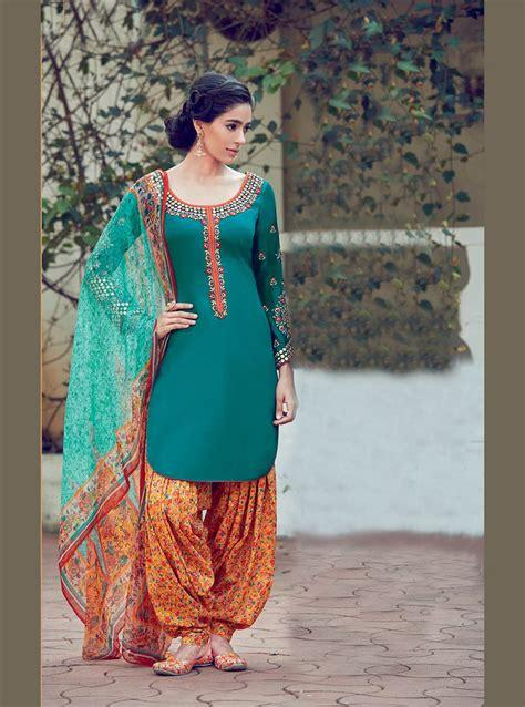 punjabi suits sea green cotton satin punjabi suit 70180 punjabi salwar