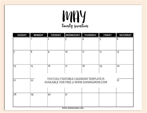 Free Printable Fully Editable 2017 Calendar Templates In Word Format Calendar Template Editable 2017