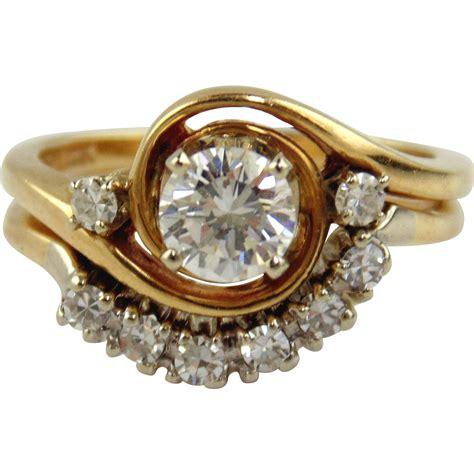 diamond engagement ring set 14kt two tone gold size 4