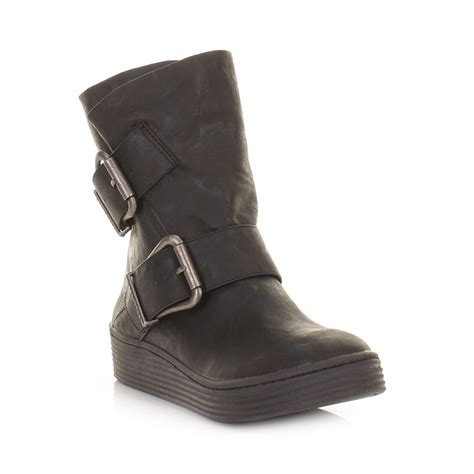 blowfish ankle boot womens black barnaby wide fit flatform