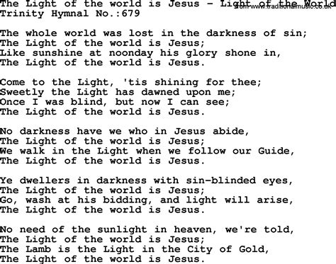 Trinity Hymnal Hymn The Light Of The World Is Jesus