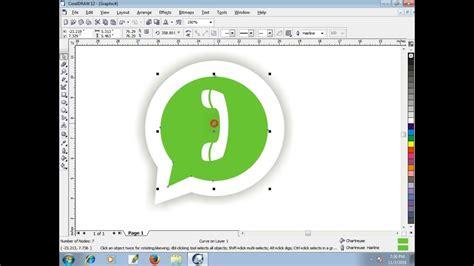 easy whatsapp logo  coreldraw  beginners tech green