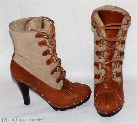 high heel duck boots michael kors studded slicker brown leather high heel duck