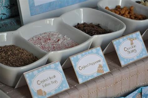 toppings for hot chocolate bar hot cocoa and marshmallows winter party party ideas