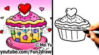 draw heart cupcake valentines fun draw fun2draw
