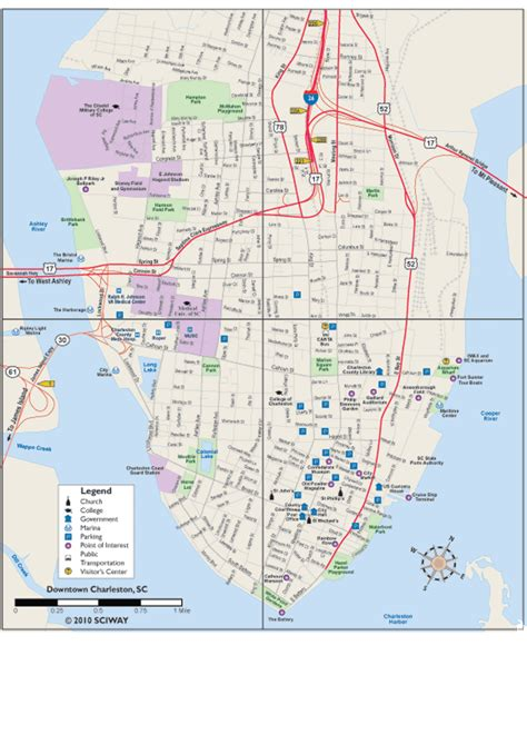 charleston sc map map of charleston sc my