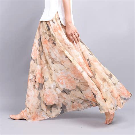 Skirt Flowers peonies floral chiffon maxi skirt skirt