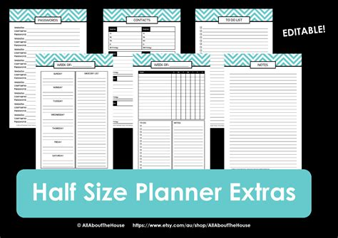 half size printable planner pages new half size printable planners for 2015