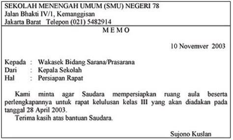 contoh memo bahasa indonesia dan bahasa inggris