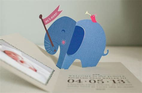 elephant pop up card template elephant