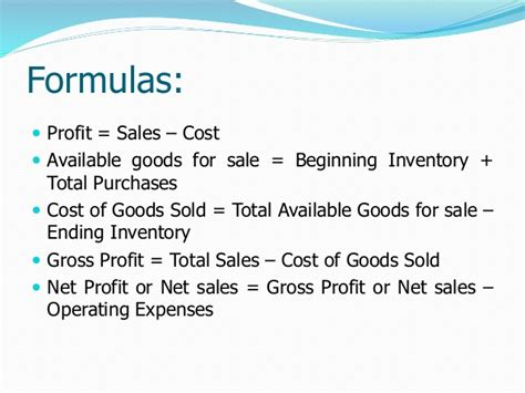 Gross Credit Loss Formula Profit Loss Sales And Cost Of Goods Sold