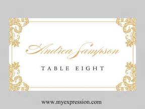 wedding place cards template folded gold damask instant editable ms word file
