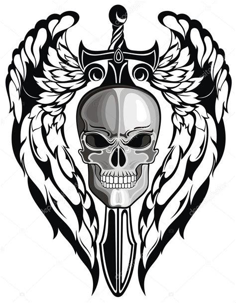 imagenes de calaveras y armas caveira alada com espada vetor de stock 169 ksyshakiss