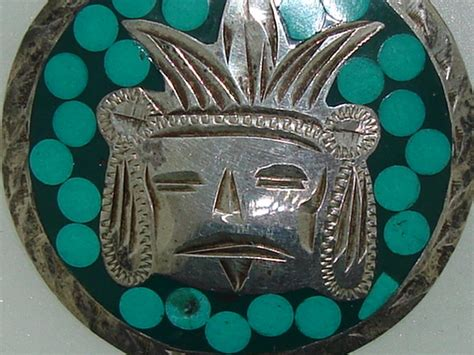 vintage guadal mexico sterling turquoise inlay mayan