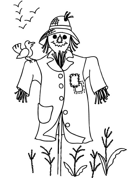 scarcrow color sheet free printable scarecrow coloring