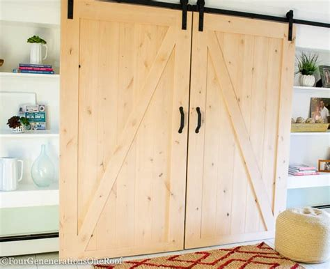 how to make a rolling barn door our diy sliding barn doors tutorial four generations
