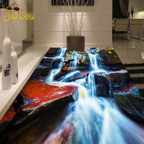 custom photo floor wallpaper 3d rock waterfall bedroom living room bathroom floor stickers mural