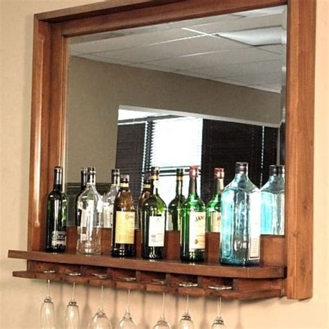 Hanging Bar Glass Rack by Crafted Solid Mahogany Wine Bottle Glass Rack Hanging Bar Mirror By Mbw Furniture