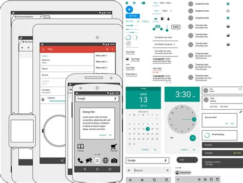 75 layouts webdesign wireframe kit product mockups on android lollipop stencil wireframesketcher