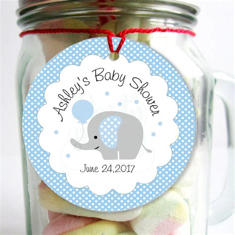 Personalized Baby Shower Tags by Personalized Baby Blue Elephant Tags Printable Boy Shower