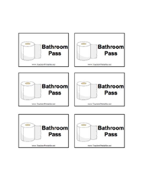 student bathroom passes a sheet of six bathroom passes for classroom use