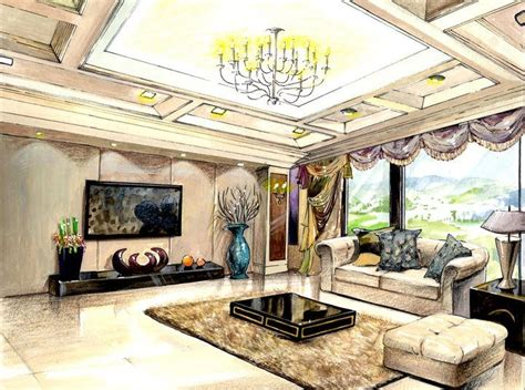 interior design rendering water color and colored pencil on white watercolor arches paper suna bong
