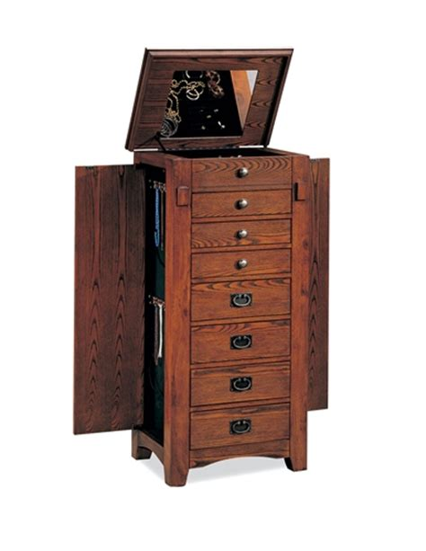 Floor Standing Jewelry Armoire In Traditional Design With