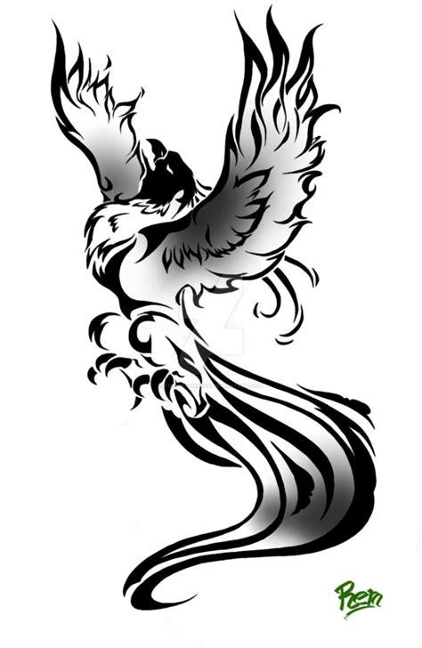 Black-and-grey rising phoenix tattoo design by Fire Dragon