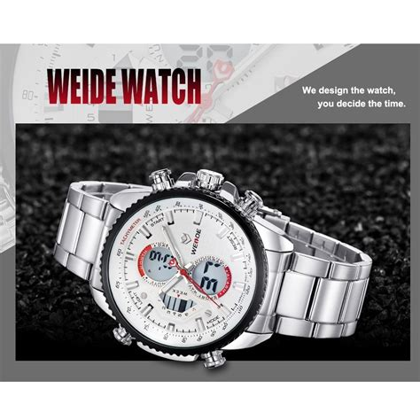 Jam Tangan Weide Japan Stainless Miyota Wh3410 Blackred weide japan quartz stainless miyota sports 30m water resistance wh3410 black