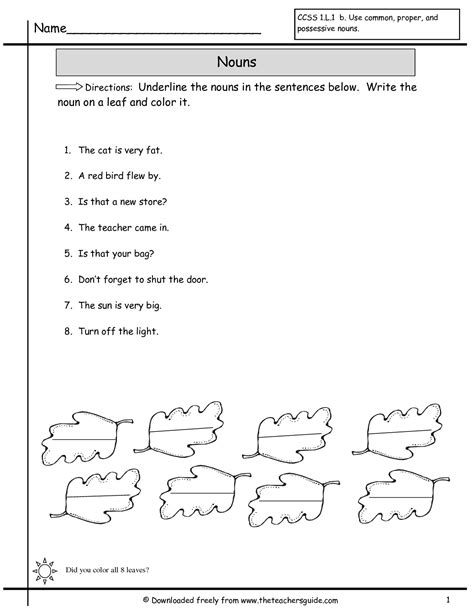 1st Grade Common Worksheets by 16 Best Images Of Grade Noun Worksheet Printable