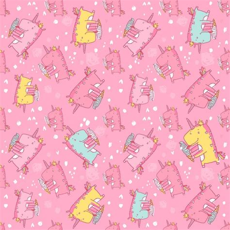 unicorn pattern free coloured unicorns pattern vector free download