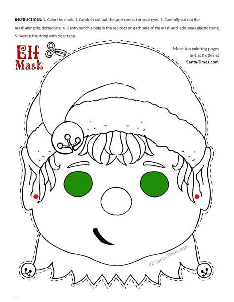 printable elf activities christmas elf mask printable coloring page more fun