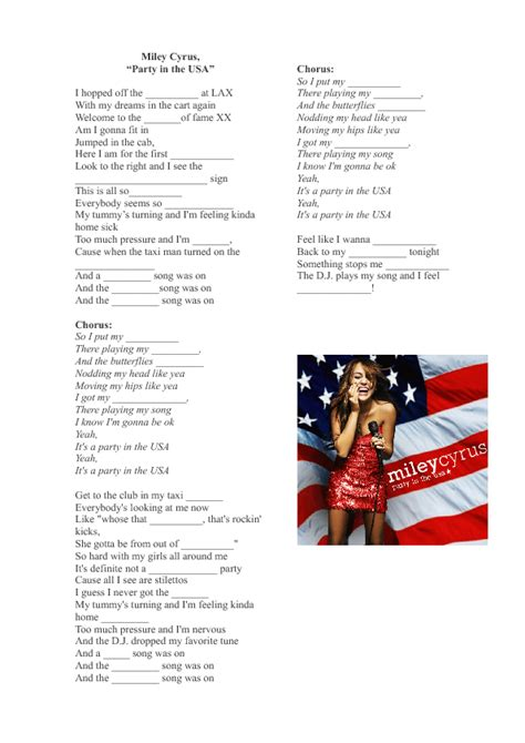 printable lyrics to party in the usa song worksheet party in the usa by miley cyrus