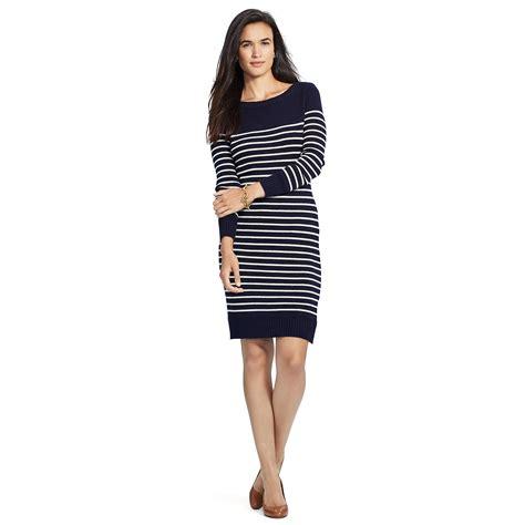 Sweater Dress Ii by Ralph Striped Cotton Sweater Dress In Blue Lyst