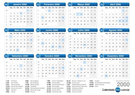 Calendario Ano 2000 Calend 225 2000
