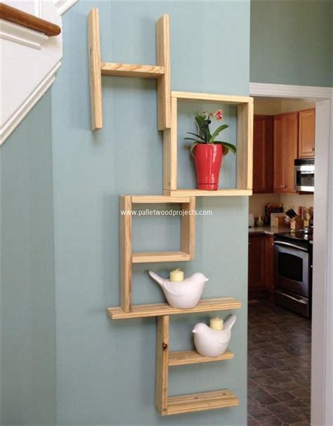Pallet Shelves With Wall Decor Pallet Wood Projects Wall Decor Shelves